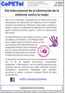 CI 3322 dia de eliminacion de la violencia contra la mujer