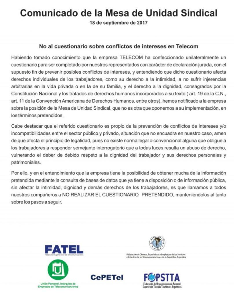 Nota MUS - Cuestionario Conflicto de Intereses en Telecom