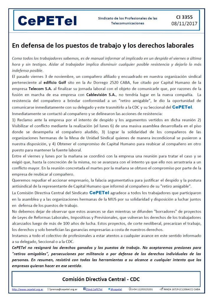 CI3355 - CePETel en defensa de los derechos laborales y puestos de trabajo