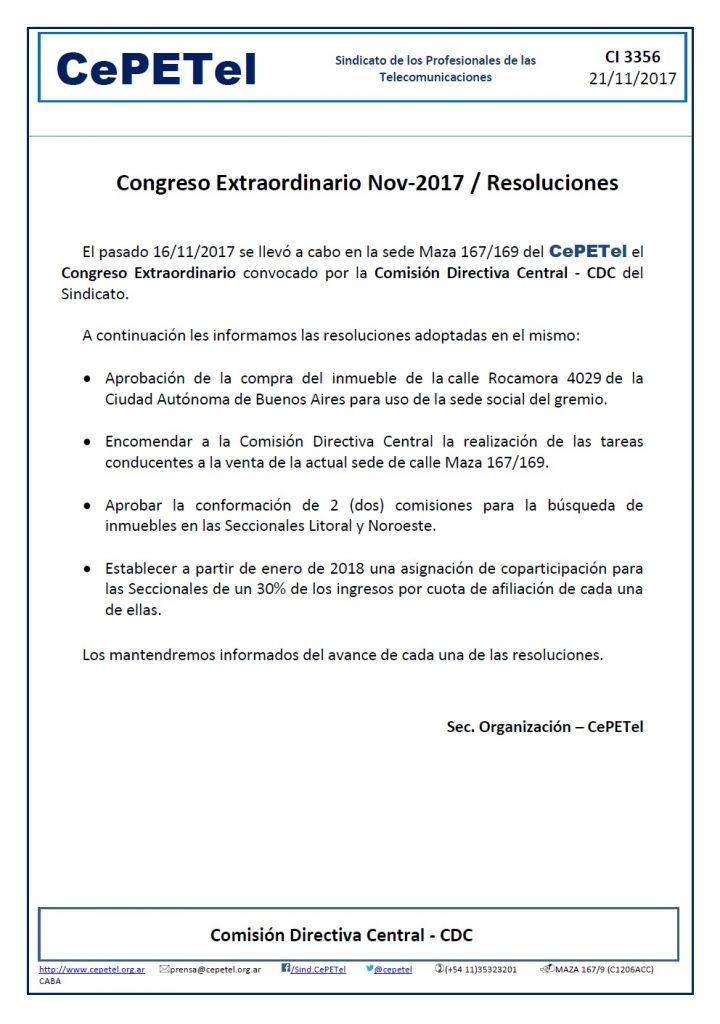 CI3356 - Congreso Extraordinario CePETel Nov-2017 (Resoluciones adoptadas)