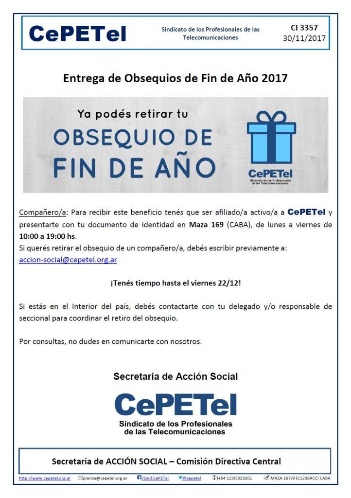 CI3357 - Entrega de OBSEQUIO DE FIN DE AÑO 2017 - CePETel
