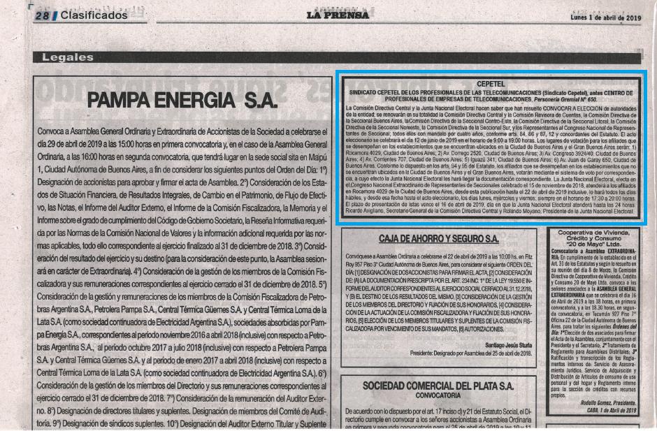 Convocatoria Elecciones CePETel 2019
