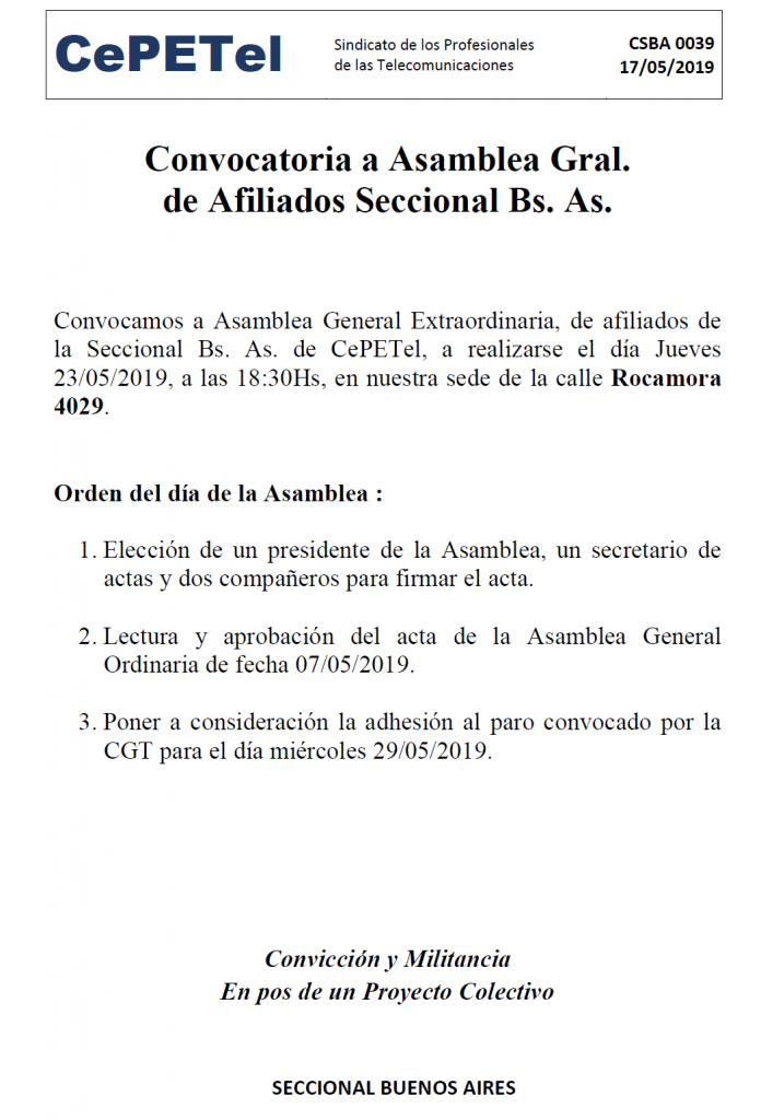 Convocatoria Asamblea de Afiliados BA por el paro de CGT