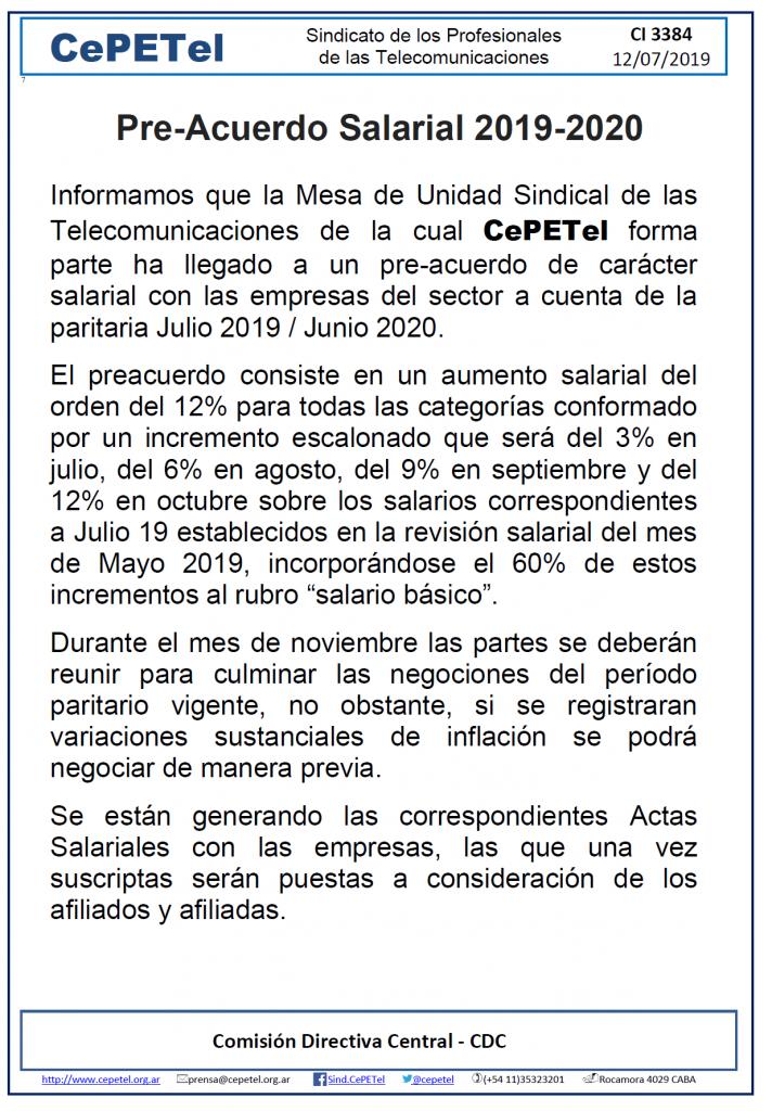 Pre-Acuerdo Salarial 2019-2020