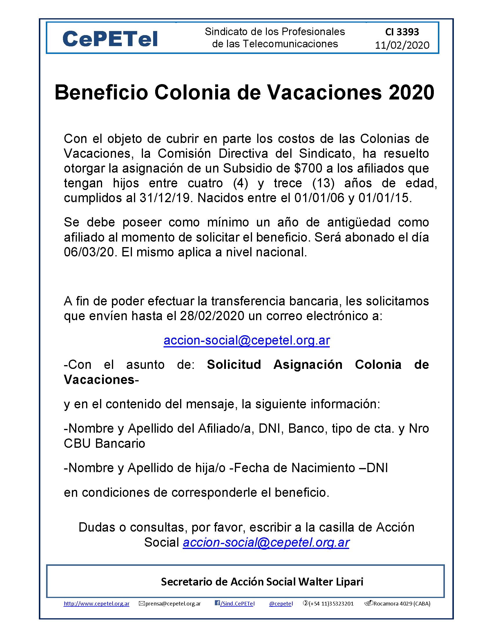Beneficio Colonia de Vacaciones 2020