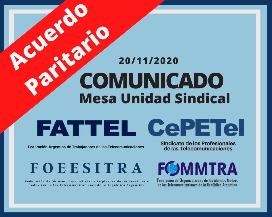 Comunicado de la MUS - 20-11-20: Acuerdo Paritario